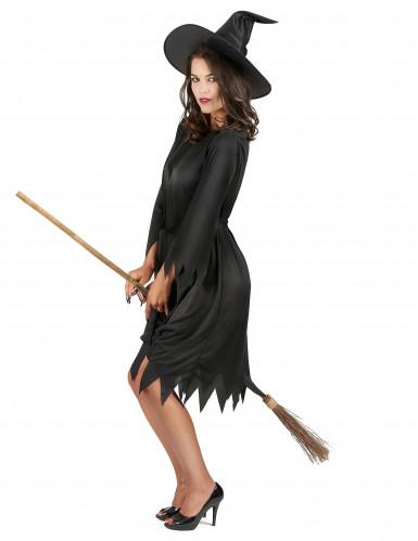 Disfarce preto bruxa mulher Halloween-1