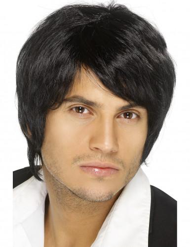 Peruca preta cabelos curtos homem