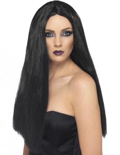Peruca comprida preta mulher 60 cm