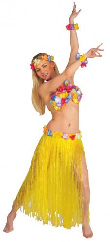 Conjunto de havaiana amarelo adulto