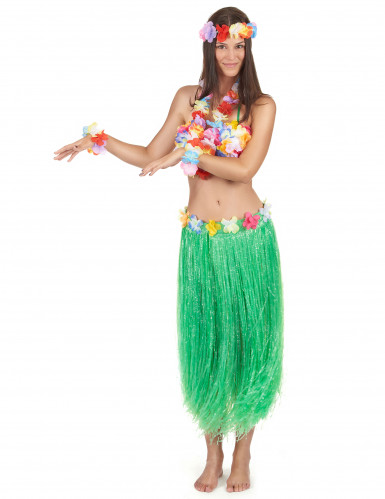 Conjunto de havaiana verde adulto