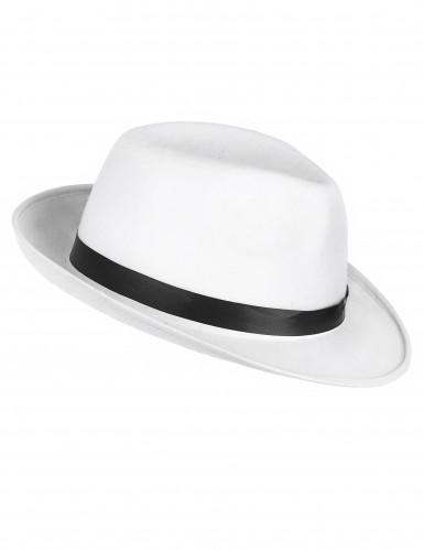 Chapéu de gangster branco adulto