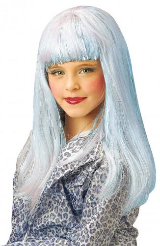 Peruca azul clara de Dana para rapariga