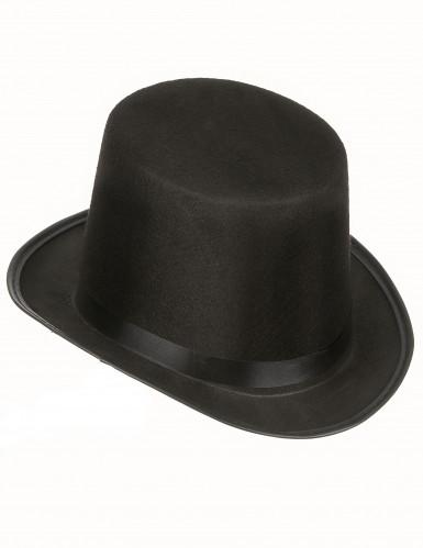 Chapéu alto preto rétro para adulto