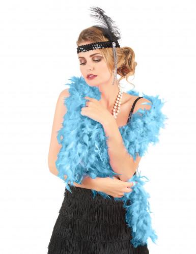 Lenço de plumas azuis turqueza para adulto-1
