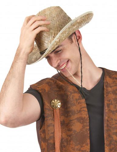 Chapéu de palha Dallas Bull para adulto-1