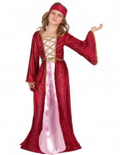 Disfarce de rainha medieval vermelho para menina