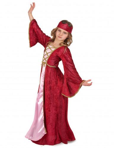 Disfarce de rainha medieval vermelho para menina-1
