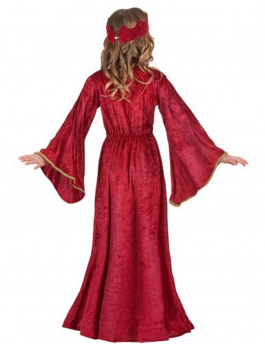 Disfarce de rainha medieval vermelho para menina-2