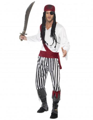 Disfarce de pirata com bandana vermelha para homem