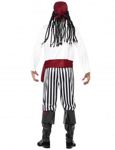 Disfarce de pirata com bandana vermelha para homem-2