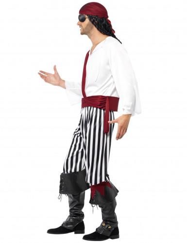 Disfarce de pirata com bandana vermelha para homem-1