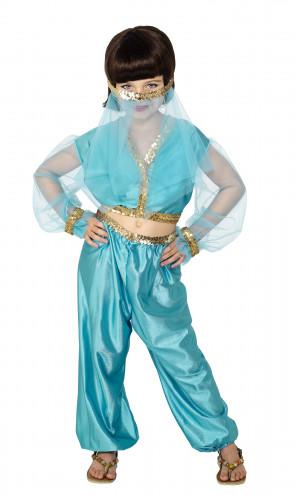 Disfarce bailarina oriental azul e dourado menina