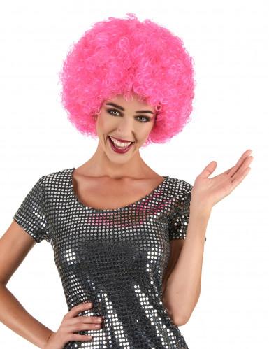 Peruca afro disco cor-de-rosa adulto