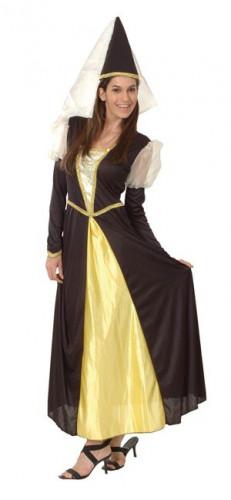 Disfarce de princesa medieval preto e dourado para mulher