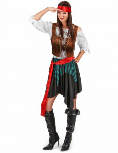 Disfarce de pirata às riscas azuis e pretas para mulher-1