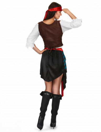 Disfarce de pirata às riscas azuis e pretas para mulher-2