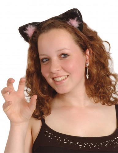 Orelhas de gato pretas e cor-de-rosa