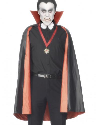 Capa reversível vampiro vermelha ou preta homem Halloween