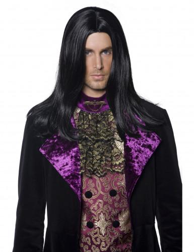 Peruca de Halloween preta e longa de conde