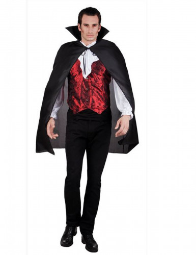 Capa preta de vampiro adulto 120 cm Halloween