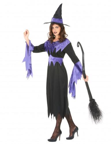Disfarce de bruxa com chapéu mulher Halloween-1