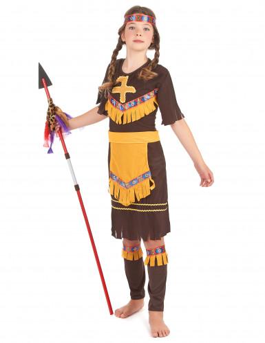 Disfarce de índia menina castanho e amarelo