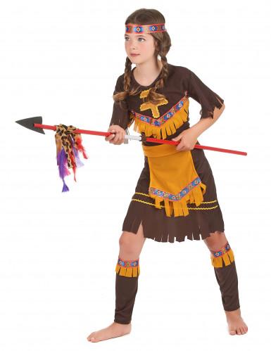 Disfarce de índia menina castanho e amarelo-1