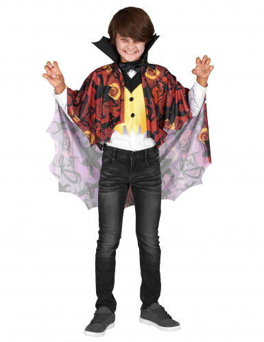 Disfarce vampiro menino amarelo e vermelho Halloween