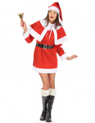 Disfarce Mãe Natal mulher vestido com capa