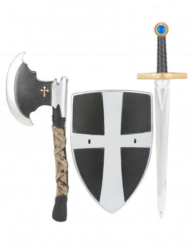 Escudo, espada e machado de cavaleiro medieval