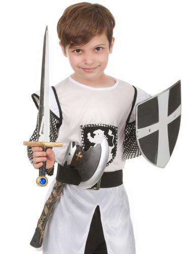 Escudo espada e machado de cavaleiro medieval-1