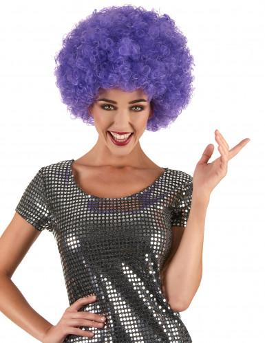 Peruca afro violeta para adulto