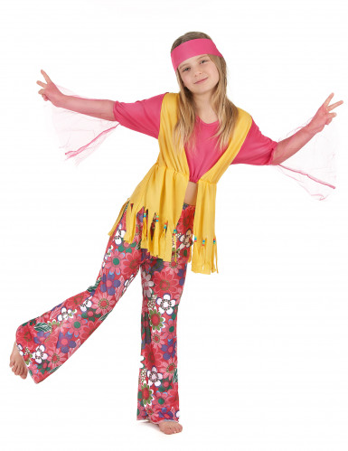 Disfarce hippie de várias cores para meninas