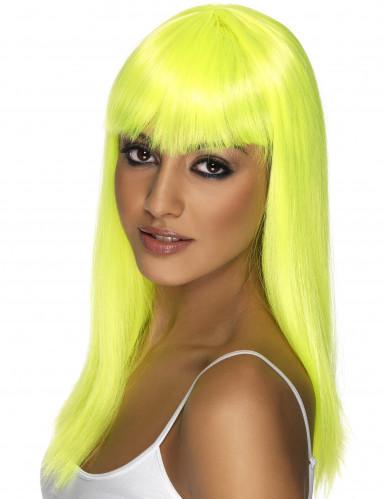 Peruca glamour amarela fluo mulher