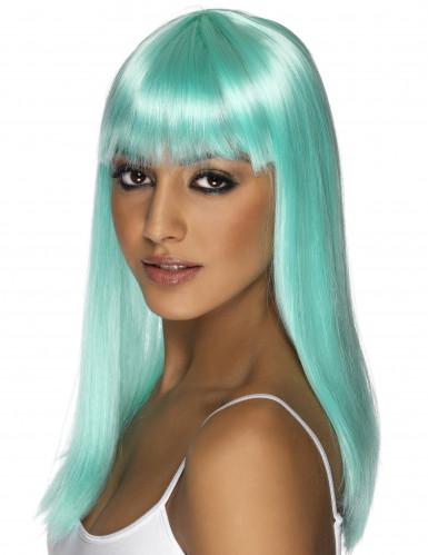 Peruca glamour azul-turquesa mulher