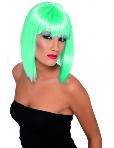 Peruca azul-turquesa de comprimento médio para mulher