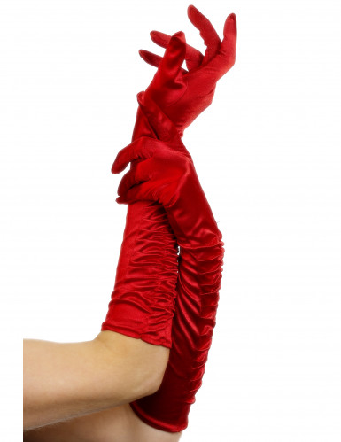 Luvas compridas vermelhas