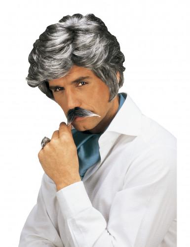 Peruca e bigode de casanova para homem