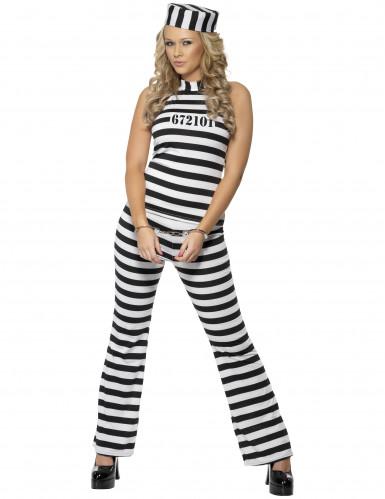 Disfarce de prisioneira preto e branco mulher
