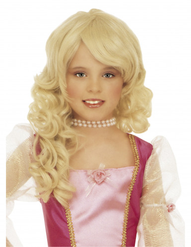 Peruca loura de princesa para menina