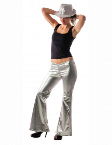 Calças de estilo ?disco? prateadas, para mulher.