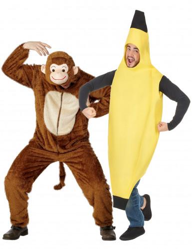 Disfarce de casal macaco e banana adulto