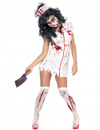 Disfarce de enfermeira zombie para mulher Halloween