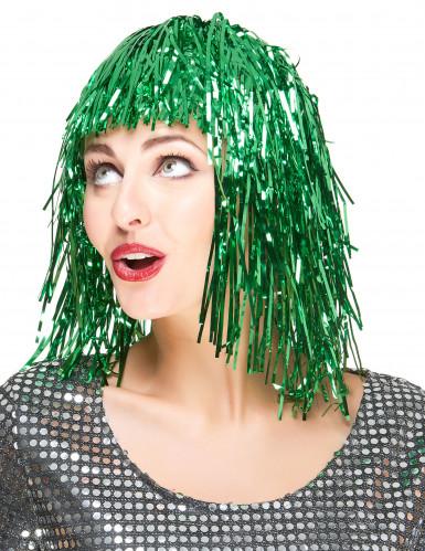 Peruca metálica verde mulher