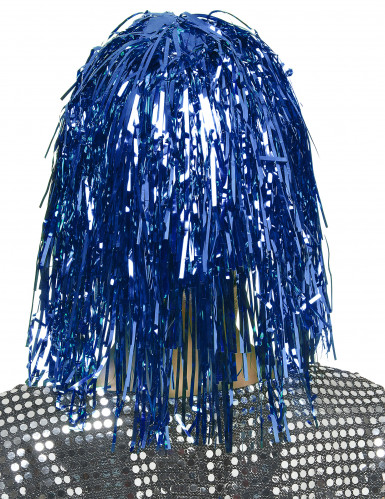Peruca azul metalizada para adulto-1