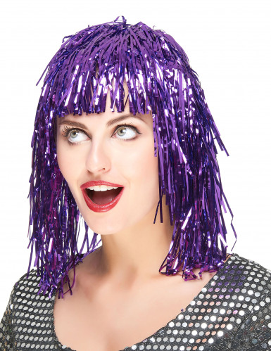 Peruca metálica violeta adulto