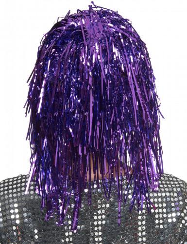 Peruca metálica violeta adulto-1