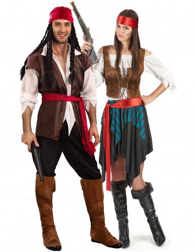 Disfarces casal pirata luxo
