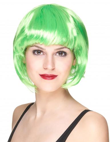 Peruca curta verde fluorescente para mulher